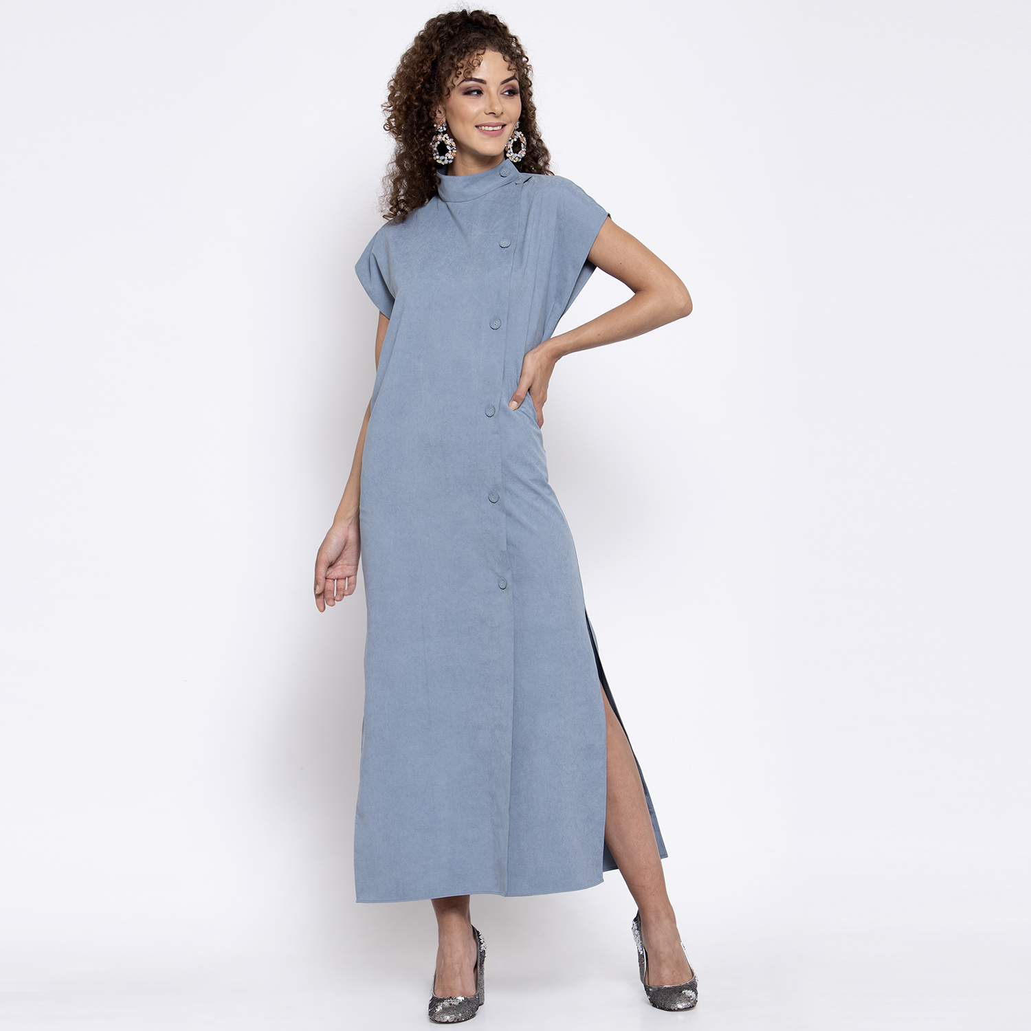 Blue long dress with buttons