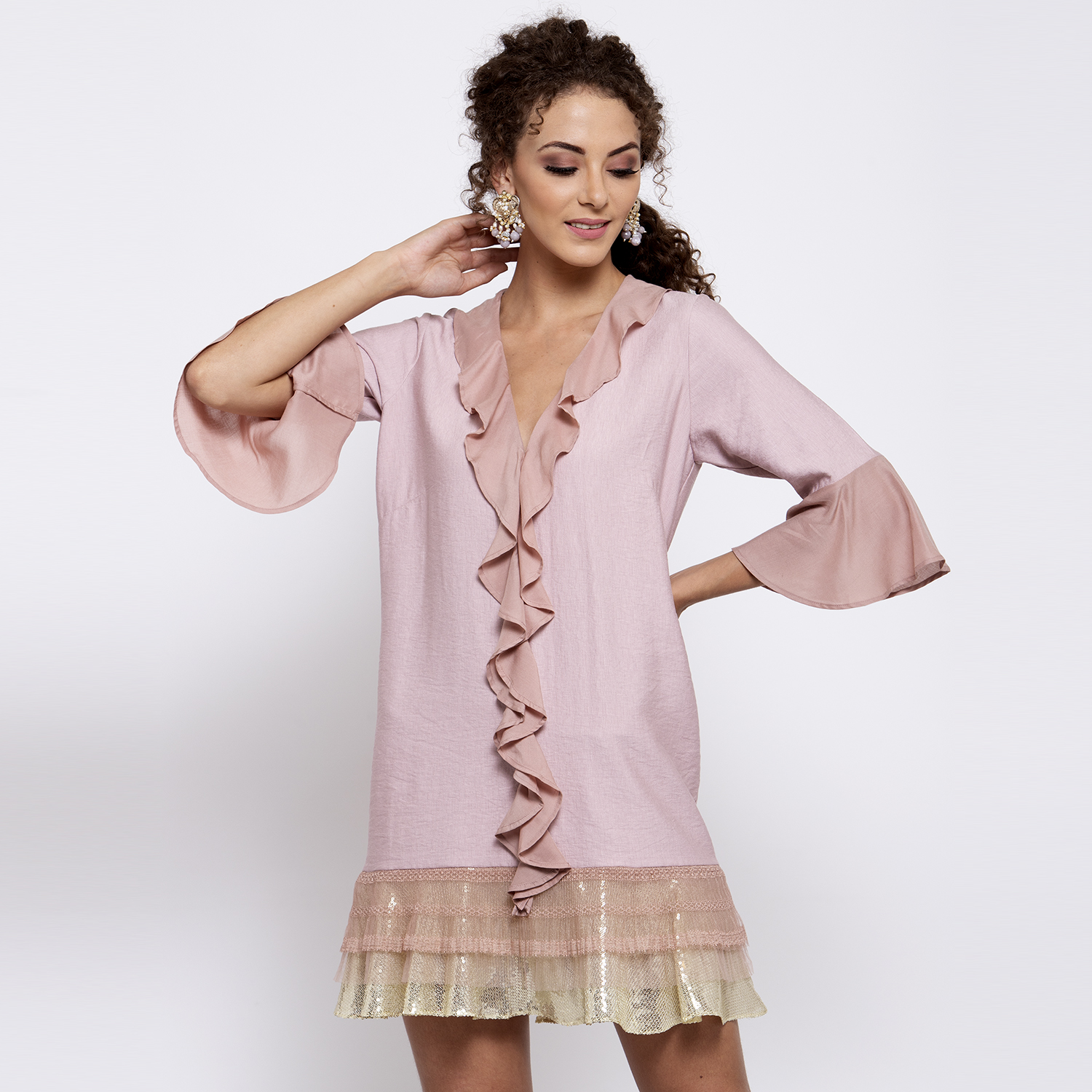 Pink linen frill dress with sequins emboidery at bottom