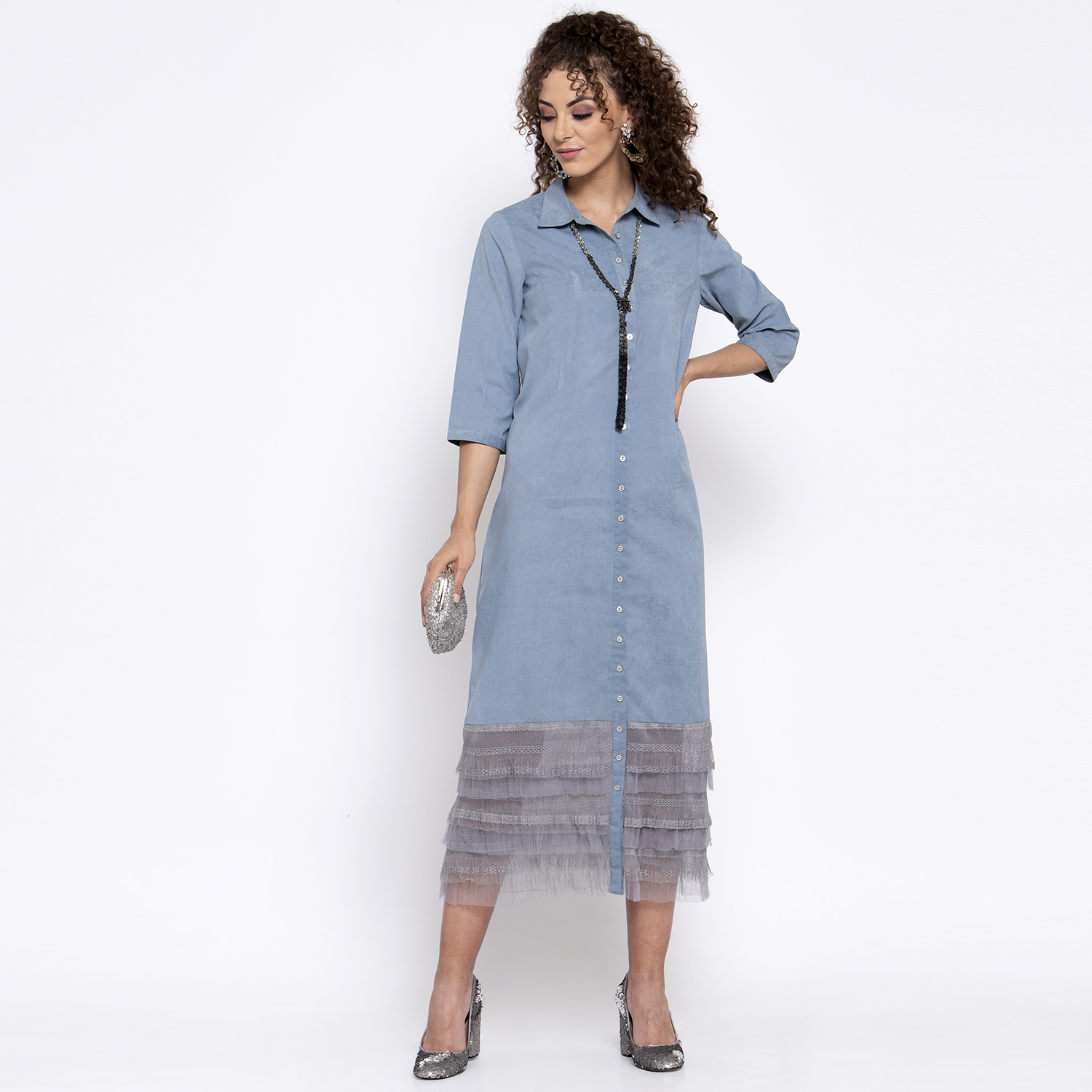 Blue long dress with grey frill at bottom
